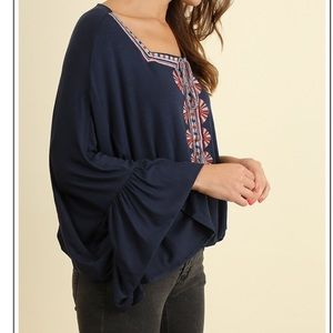 Tops - Black Square Neck Embroidered Blouse Bell Sleeve